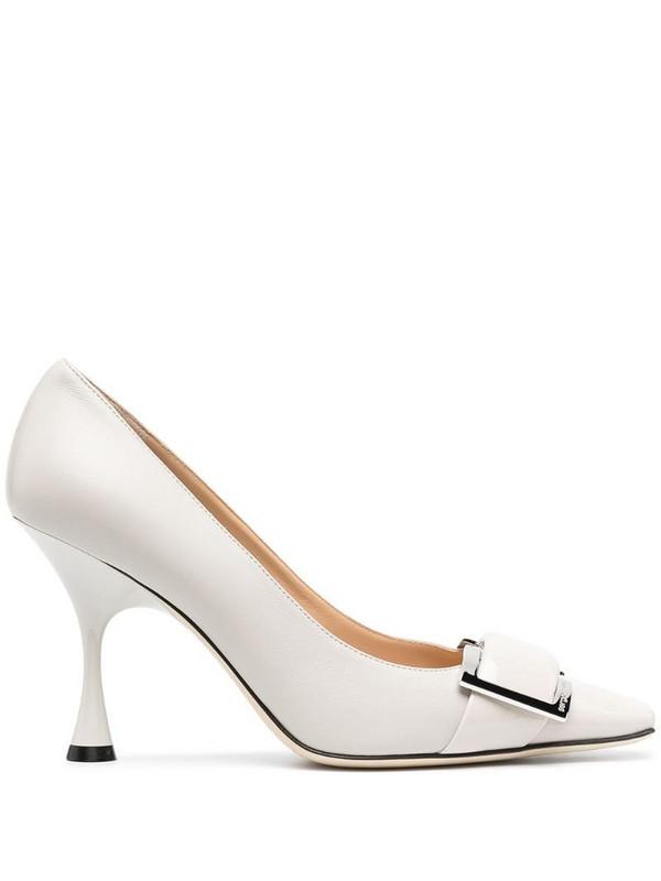 Sergio Rossi square toe pumps in white