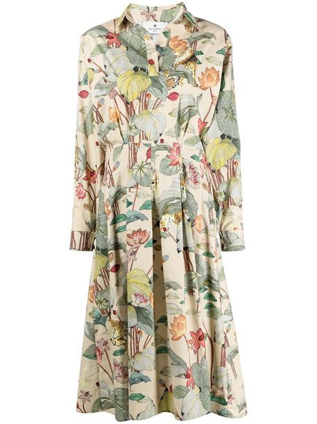 Etro floral shirt dress in neutrals