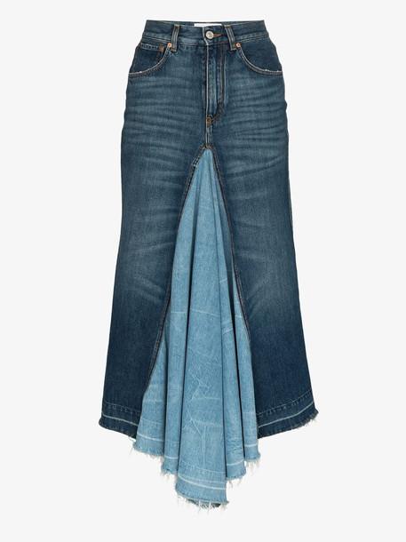 Givenchy contrast panel denim midi skirt