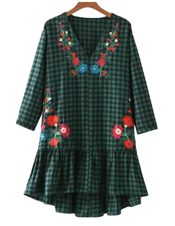dress green plaid embroidered floral tunic