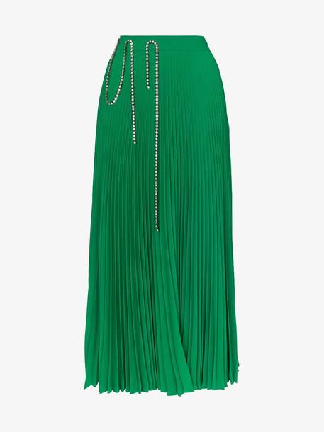Christopher Kane diamanté pleated maxi skirt in green