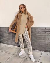 coat,teddy bear coat,beige coat,white sneakers,nike sneakers,snake print,straight pants,turtleneck sweater,louis vuitton bag