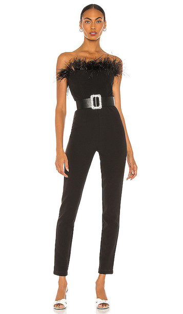 Bronx and Banco Lola Feather Jumpsuit in Black