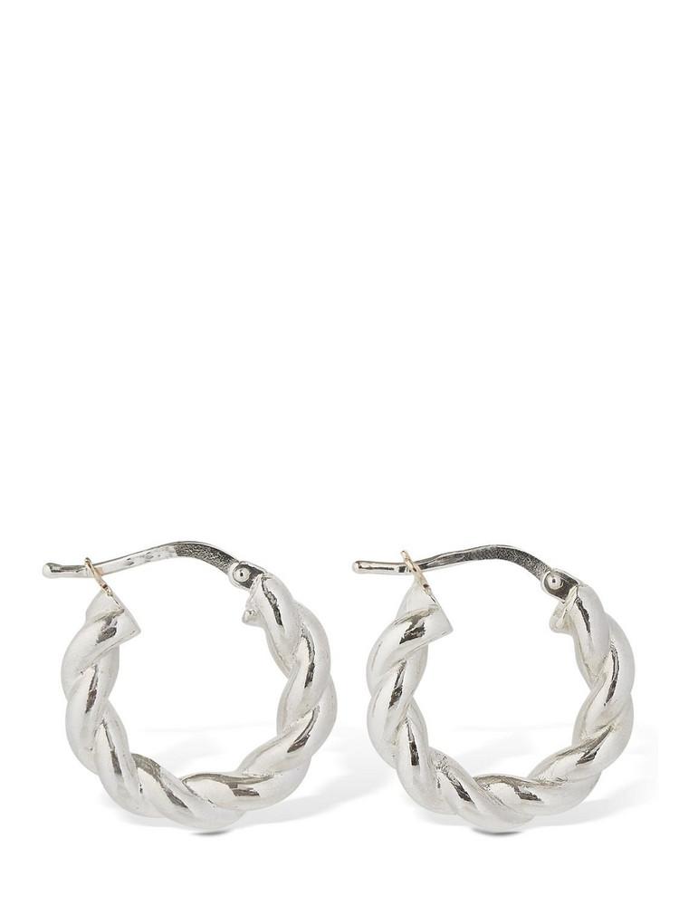 BOTTEGA VENETA Wrinkled Hoop Earrings in silver