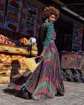 skirt,pleated skirt,maxi skirt,floral skirt,black boots,yellow bandeu,floral shirt