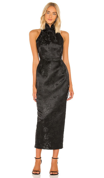 SAU LEE Jill Chinese Jacquard Pencil Dress in Black