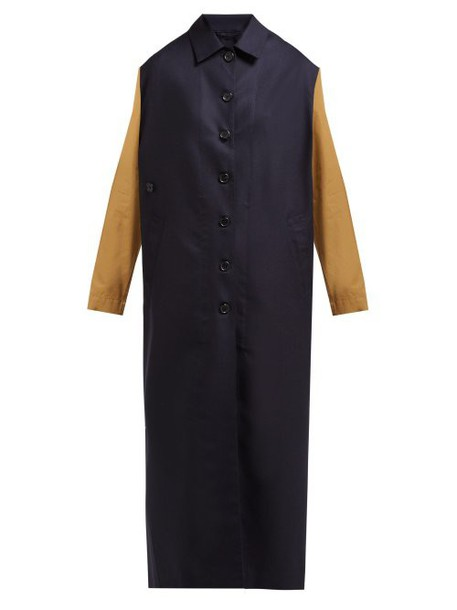 Colville - Two Tone Single Breasted Wool Coat - Womens - Navy Multi