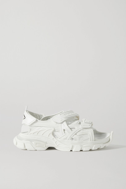 BALENCIAGA - Track Logo-detailed Leather And Rubber Sandals - White