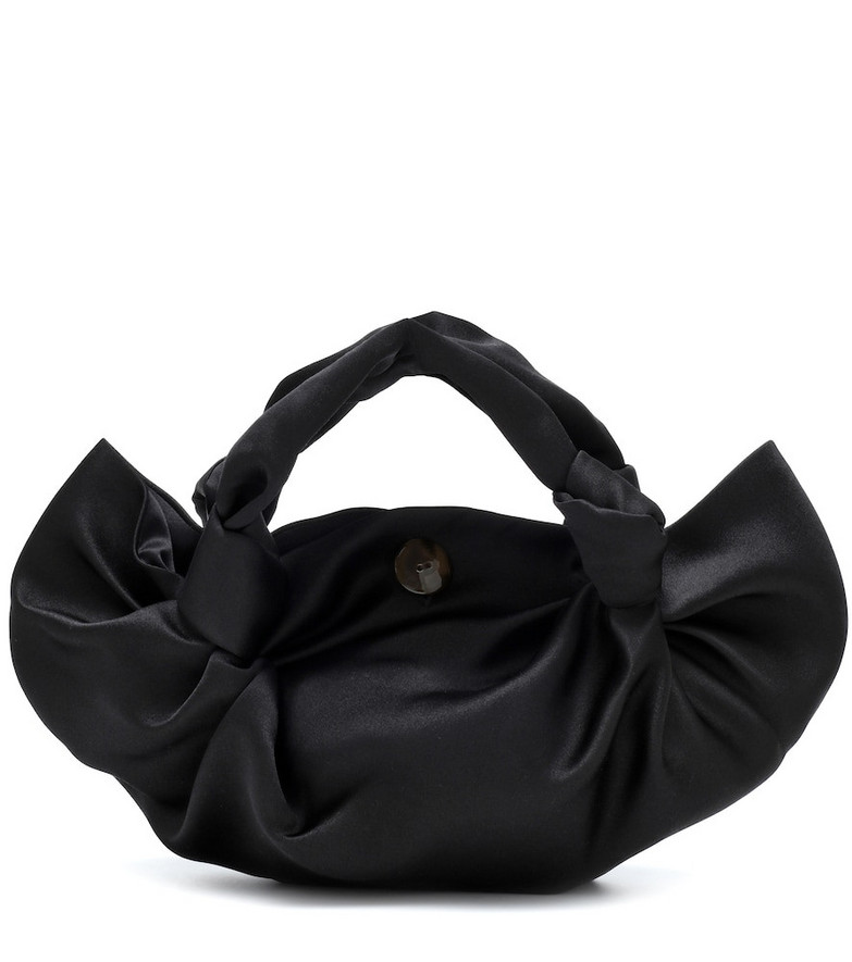 The Row The Ascot Medium satin tote in black