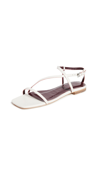 STAUD Gitane Chain Sandals in cream / silver
