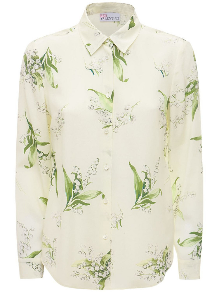 RED VALENTINO Printed Crepe De Chine Shirt in ivory
