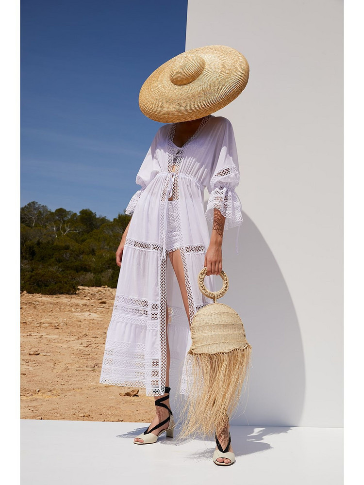 CHARO RUIZ Claire Cotton Voile Trimmed Kaftan Dress in white