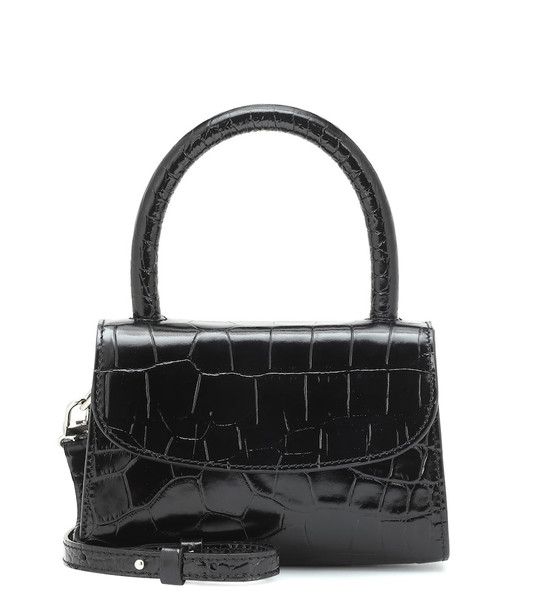 By Far Mini croc-effect leather tote in black