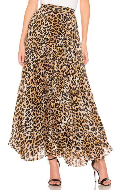Alice + Olivia Katz Pleated Maxi Skirt in brown