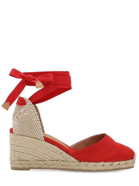 CASTAÑER 60mm Carina Canvas Espadrille Wedges in red