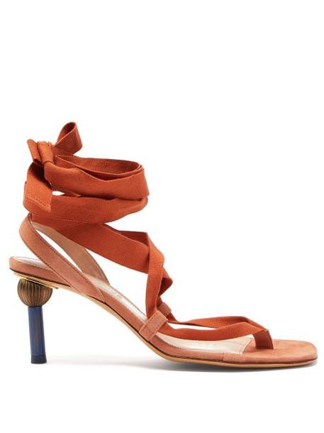 Jacquemus - Capri Mismatched Heel Suede Sandals - Womens - Orange