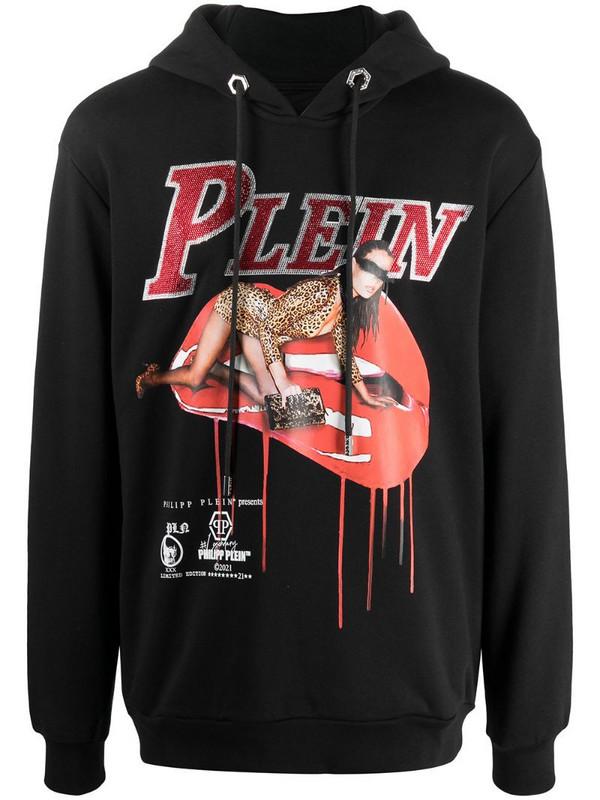 Philipp Plein graphic-print rib-trimmed hoodie in black