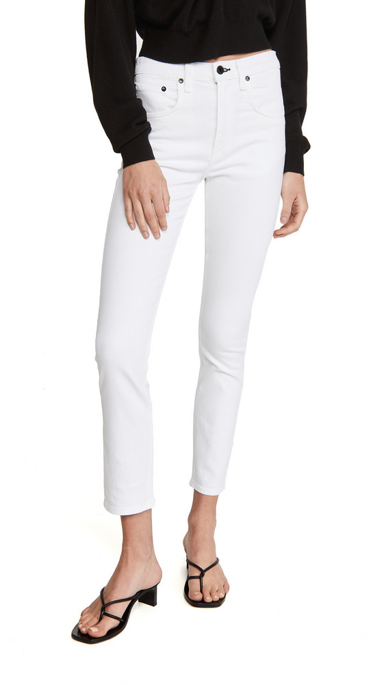 ASKK NY High Rise Crop Jeans in white