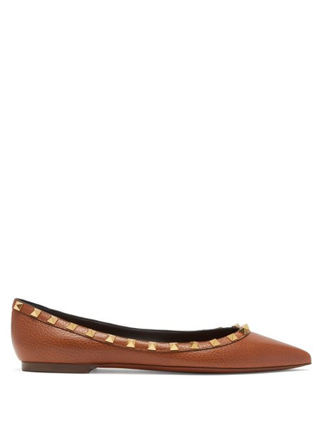 Valentino - Rockstud Grained Leather Flats - Womens - Tan