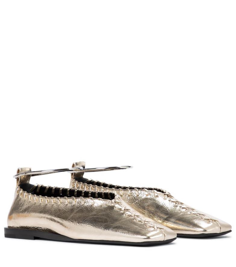 Jil Sander Leather ballet flats in gold