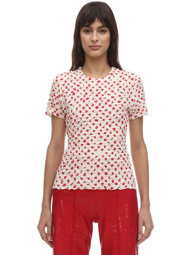 SAKS POTTS Chica Polka Dot Gathered T-shirt in red / white
