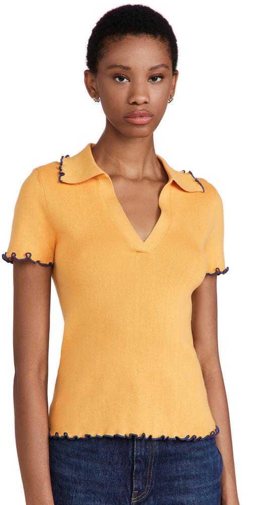 Victor Glemaud Rib Polo Top in yellow