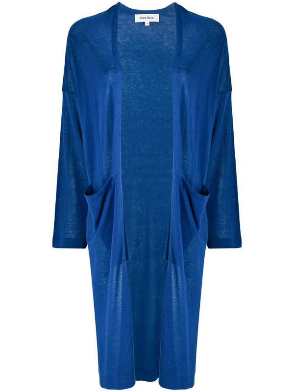 Enföld lightweight long cardigan in blue