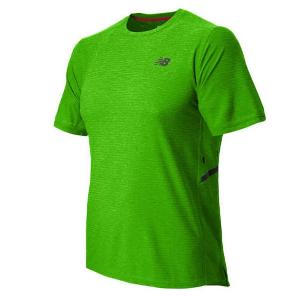 New Balance 5191 Men's Shift Short Sleeve Top - Chemical Green Heather (MFT5191CGH)