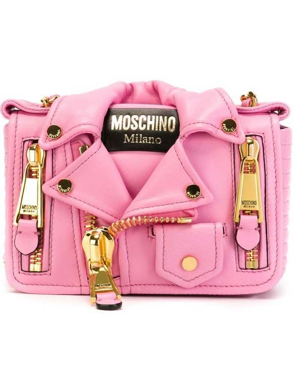 Moschino biker cross body bag in pink