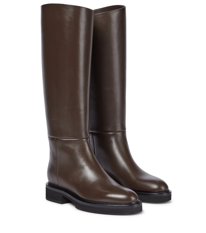 KHAITE Derby leather riding boots in brown