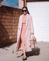 skirt,plaid skirt,midi skirt,pink skirt,high waisted skirt,mules,long coat,pink coat,pink blouse,handbag