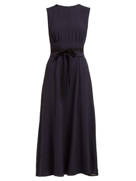 Cefinn - Tie Waist Voile Midi Dress - Womens - Navy Multi