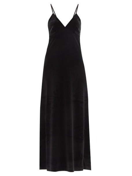 Norma Kamali - V-neck Velvet Slip Dress - Womens - Black