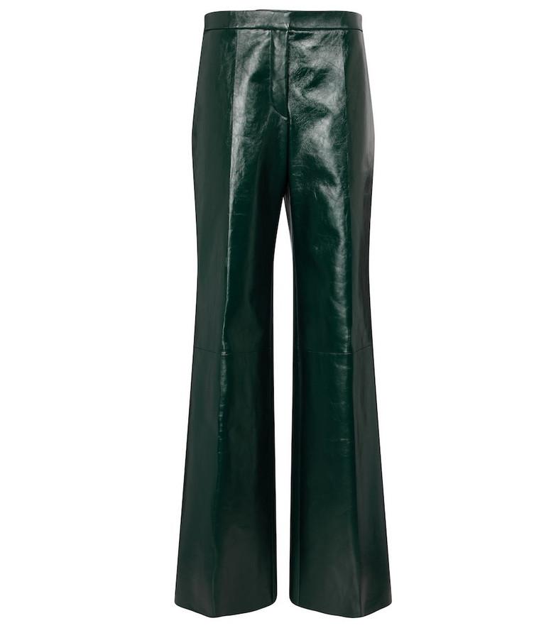 Jil Sander High-rise leather wide-leg pants in green