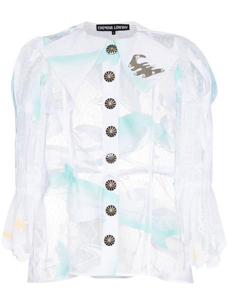 Chopova Lowena dolphin lace sheer shirt - White