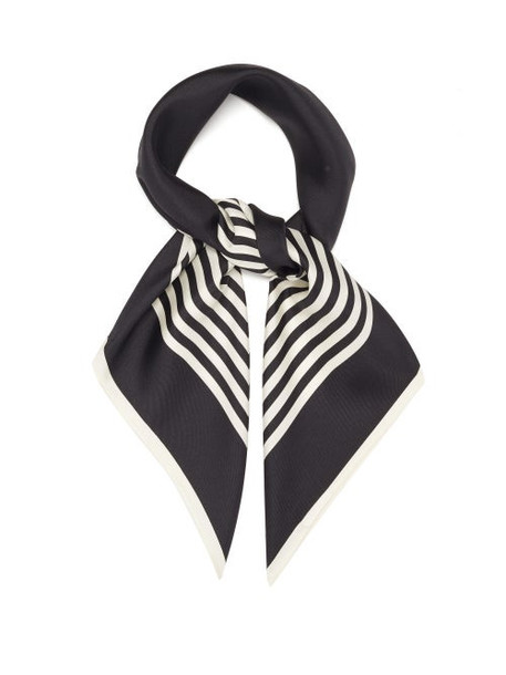 Lescarf - No.2 Striped Silk-twill Scarf - Womens - Black Cream
