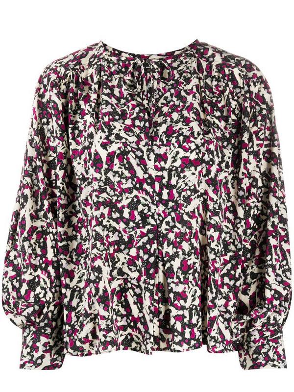 Isabel Marant printed tie blouse in black