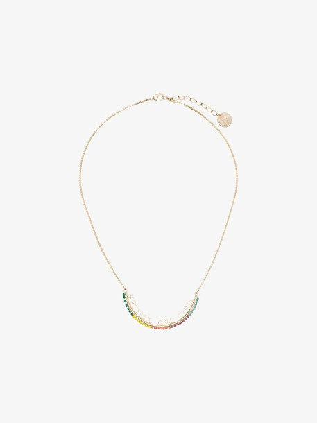 Anton Heunis gold metallic, green and yellow netflix and chill swarovski crystal necklace