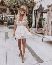 dress,white dress,mini dress,lace dress,off the shoulder dress,ankle boots,snake print,hat