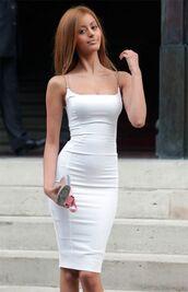 dress,tight,hobble,zahia,zahia dehar,white,sleeveless,versace fashion show,paris,versace,back zipper,very tight,prostitute,spaghetti strap,knee length