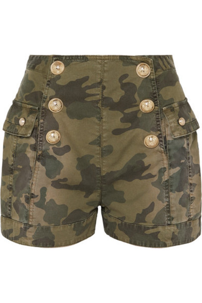 Balmain - Button-embellished Camouflage-print Cotton-blend Shorts - Army green