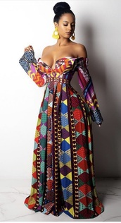 dress,colorful maxi dress