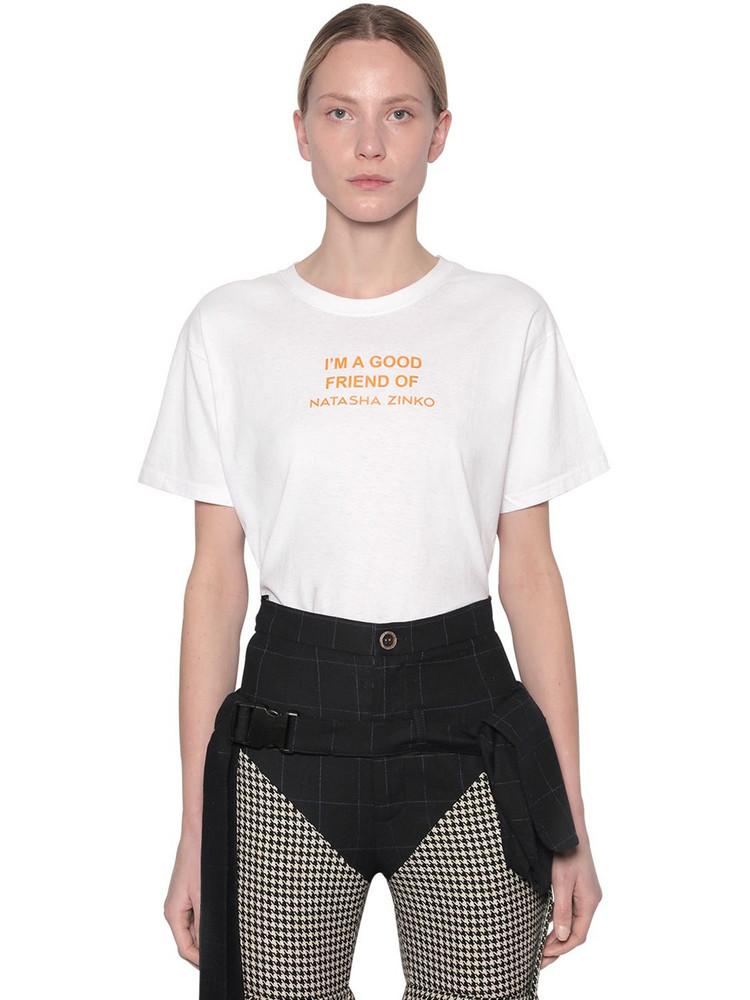 NATASHA ZINKO Printed Cotton Jersey T-shirt in white