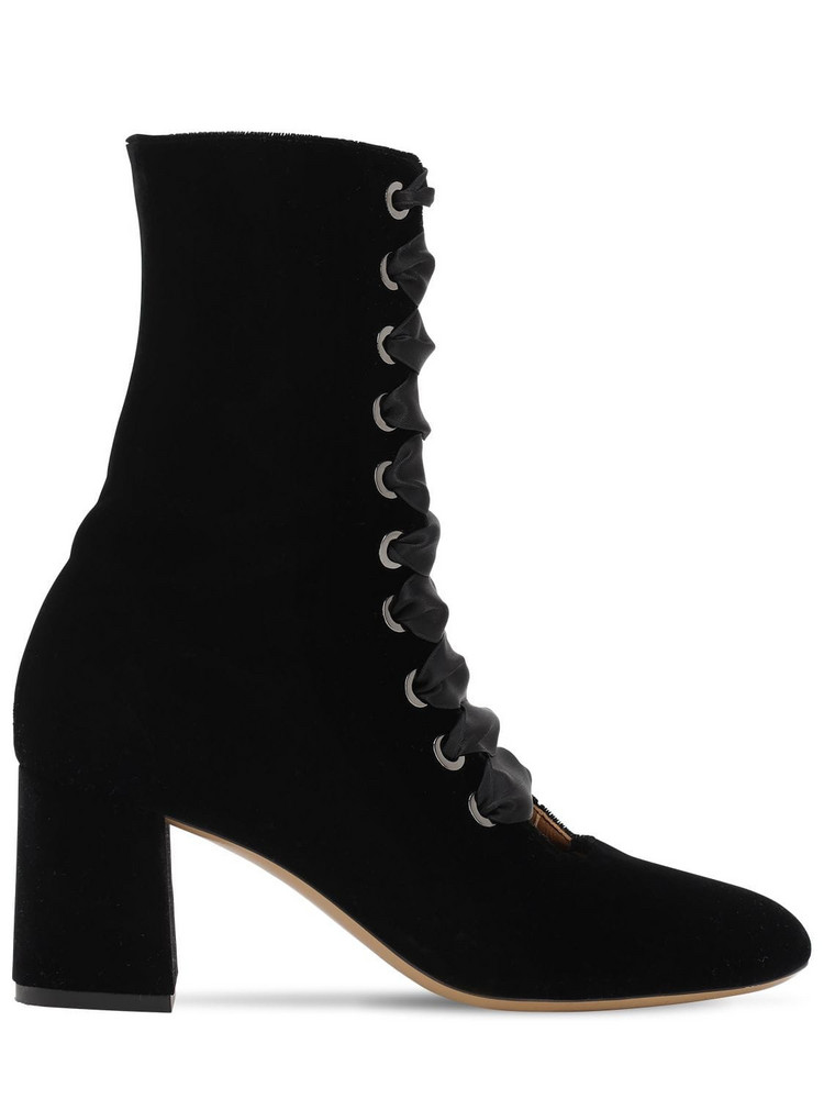 LE MONDE BERYL 70mm Lace-up Velvet Ankle Boots in black