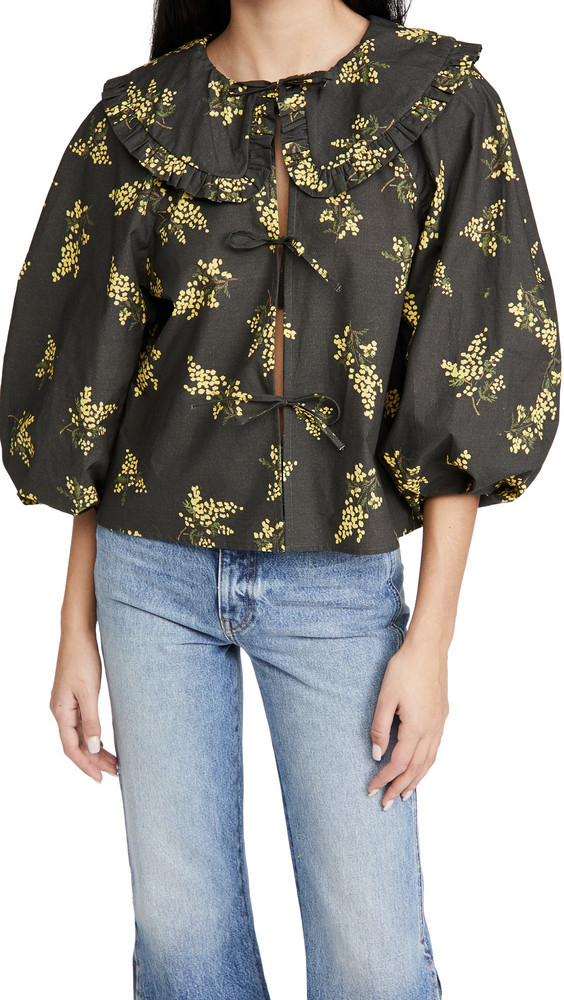 Naya Rea Emilia Blouse in grey / yellow / print
