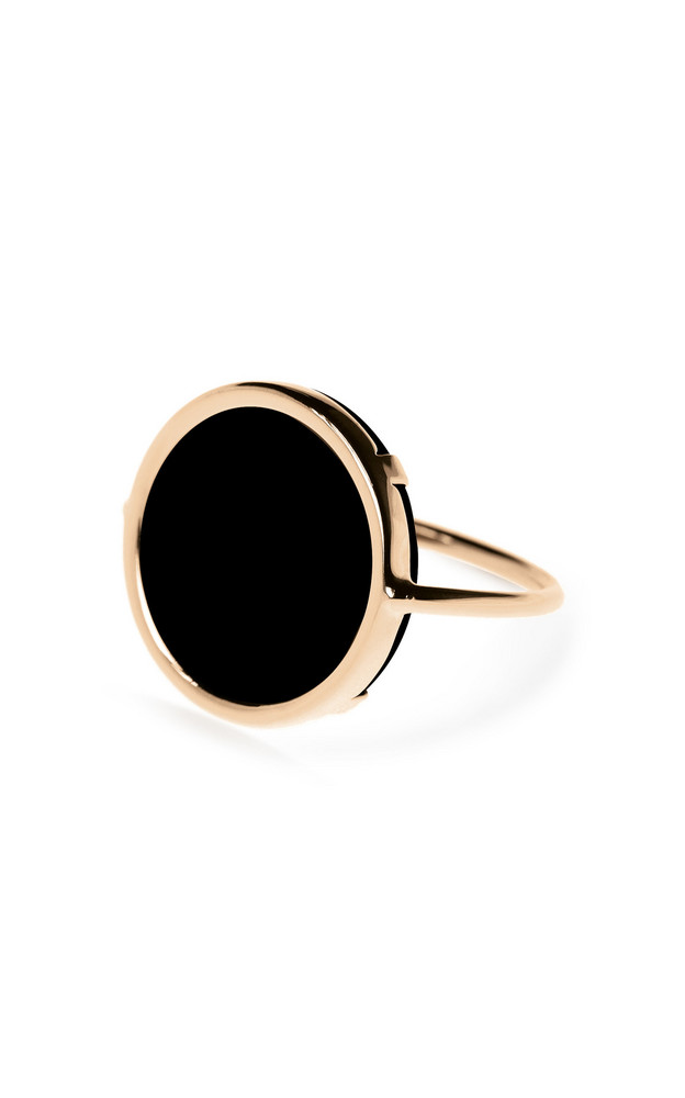 Ginette NY 18R Rose Gold Onyx Disc Ring in black