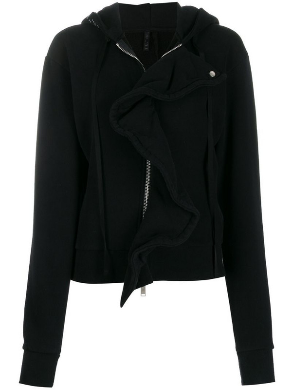 UNRAVEL PROJECT frill-trim zipped hoodie in black