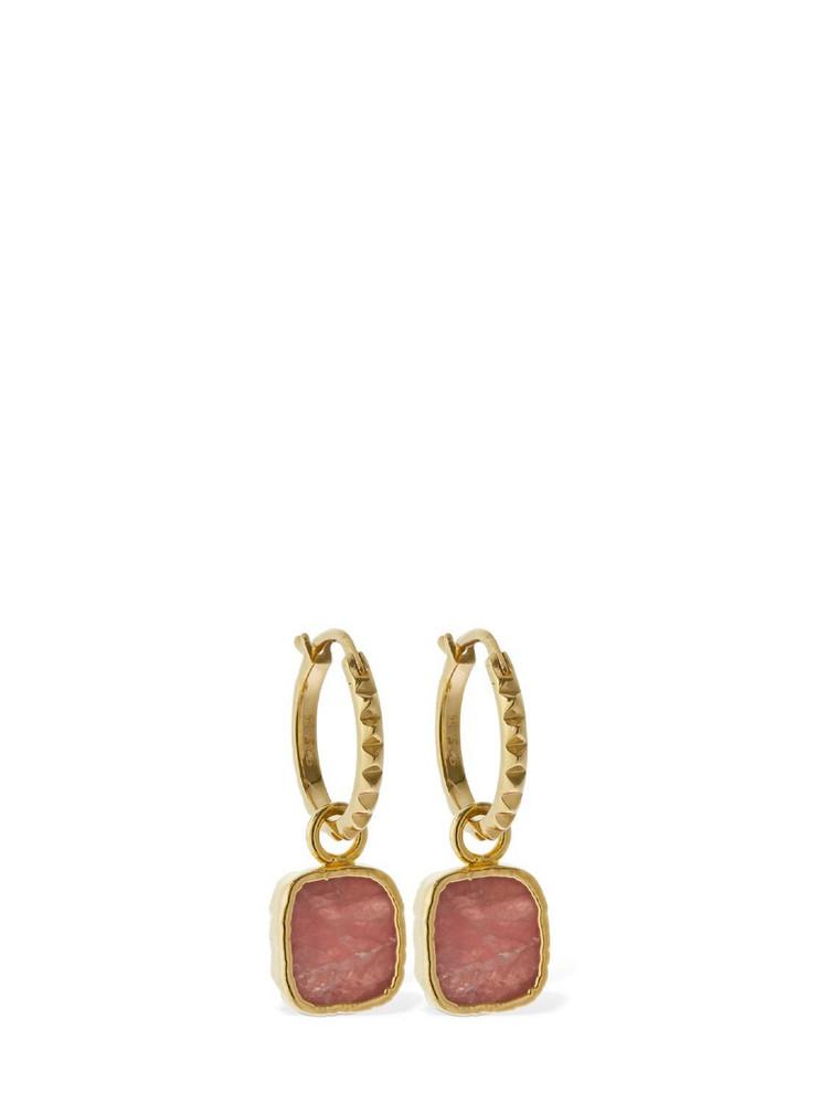 MISSOMA Rhodochrocite Charm Hoop Earrings in gold / pink