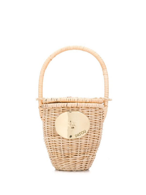 Patou woven bucket bag in neutrals
