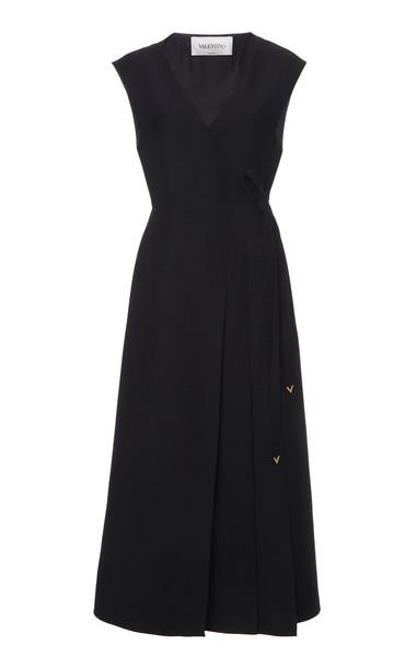 Valentino Sleeveless Wool Silk Midi Wrap Dress in black